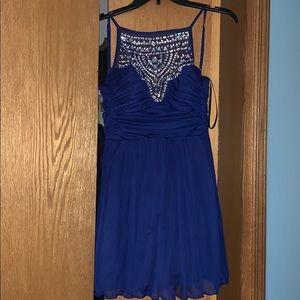 Royal Blue Bedazzled High Neck Juniors Dress